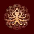 Golden Zen Octopus Meditating by Laura Ostrowski