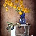 Goldenglow Flowers In Blue Vase by Nikolay Panov