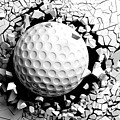 Golf Ball Breaking Forcibly Through A White Wall. 3d Illustration. by George Tsartsianidis