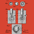 Golf Ball Patent Drawing Red by Bekim Art