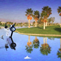 Golf Cart Stuck In Water by David Zanzinger