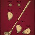 Golf Club Patent Drawing Dark Red 2 by Bekim Art