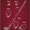 Golf Club Patent Drawing Dark Red by Bekim Art