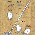 Golf Club Patent Drawing Vintage by Bekim Art