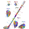 Golf Club Patent Drawing Watercolor by Bekim Art