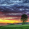 Golf Sunset Number 4 The Landing Reynolds Plantation Golf Art by Reid Callaway