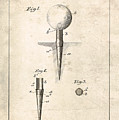 Golf Tee Patent - Patent Drawing For The 1899 G. F. Grant Golf Tee by Jose Elias - Sofia Pereira