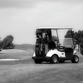 Golfing Golf Cart 06 Bw by Thomas Woolworth