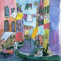 Gondola In A Venetian Canal by Mike Goldstein