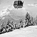 Gondola Ride Into The Canadian Rockies Black And White by Adam Jewell