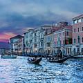 Gondolas At Night by Darryl Brooks