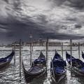 Gondolas In Front Of San Giorgio Island by Roberto Pagani