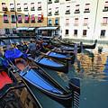 Gondolas In Orseolo Basin Venice by George Oze