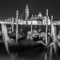 Gondolas In Venice Italy At Night  by John McGraw