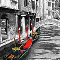 Gondolas On Venice. Black And White Pictures With Colour Detail  by Cranach Studio