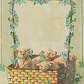 Good Luck Basket With Pigs by Artist from the past