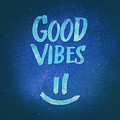 Good Vibes  Funny Smiley Statement Happy Face Blue Stars Edit by Philipp Rietz