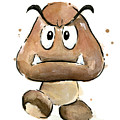 Goomba Watercolor by Olga Shvartsur
