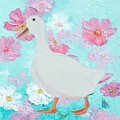 Goose On Floral Background by Jan Matson