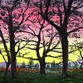 Gorgeous Sunrise Watercolor Landscape  by Irina Sztukowski