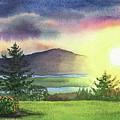 Gorgeous Sunset Watercolor Painting by Irina Sztukowski