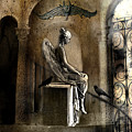 Gothic Surreal Angel With Gargoyles And Ravens  by Kathy Fornal