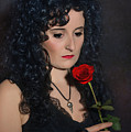 Gothic Woman With Rose by Amanda Elwell