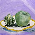 Gourd And Green Apple On Haviland by Mary Carol Williams