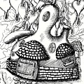Gourd Fairy House With Snail And Preying Mantis by Dawn Boyer
