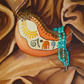 Gourd With Turquoise by Lynn Morgan -                            L L Morgan Art