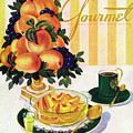 Gourmet Cover Featuring A Centerpiece Of Peaches by Henry Stahlhut