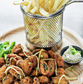 Gourmet Fried Octopus Calamari Style Set Meal With Fries by Jacek Malipan