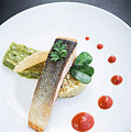 Gourmet Salmon Fish  Fillet With Rice And Guacamole Meal by Jacek Malipan