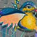 Graffiti Art Of A Colorful Bird Along Street IIn Hilly Valparaiso-chile by Ruth Hager