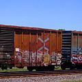 Graffiti Train With Billboard by Anne Cameron Cutri