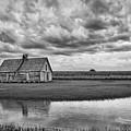 Grain Barn And Sky - Reflection by Nikolyn McDonald