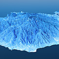 Gran Canaria Topographic Map 3d Landscape View Blue Color by Frank Ramspott