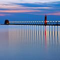 Grand Haven Pier Lights At Night by Craig Sterken