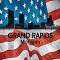 Grand Rapids Mi American Flag Squared by Angelina Tamez