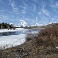 Grand Tetons From Oxbow Bend At A Distance by Belinda Greb