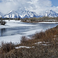 Grand Tetons From Oxbow Bend by Belinda Greb