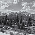 Grand Tetons From Schwabacher Road Bw by Belinda Greb