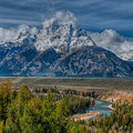 Grand Tetons With The Snake River by Brenda Jacobs