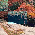 Granite Outcrop And Fall Leaves Aep2 by Lyle Crump