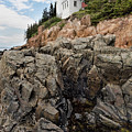 Granite Shore And Lighthouse In Bass Harbor, Trenton, Me #40038-40 by John Bald