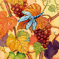 Grapes And Dragonfly by Peggy Wilson
