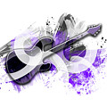 Graphic Art Guitar - Purple by Melanie Viola