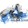 Graphic Art Music Lover - Blue by Melanie Viola