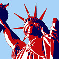 Graphic Statue Of Liberty Red White Blue by Elaine Plesser