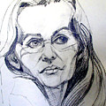 Graphite Portrait Sketch Of A Woman With Glasses by Greta Corens